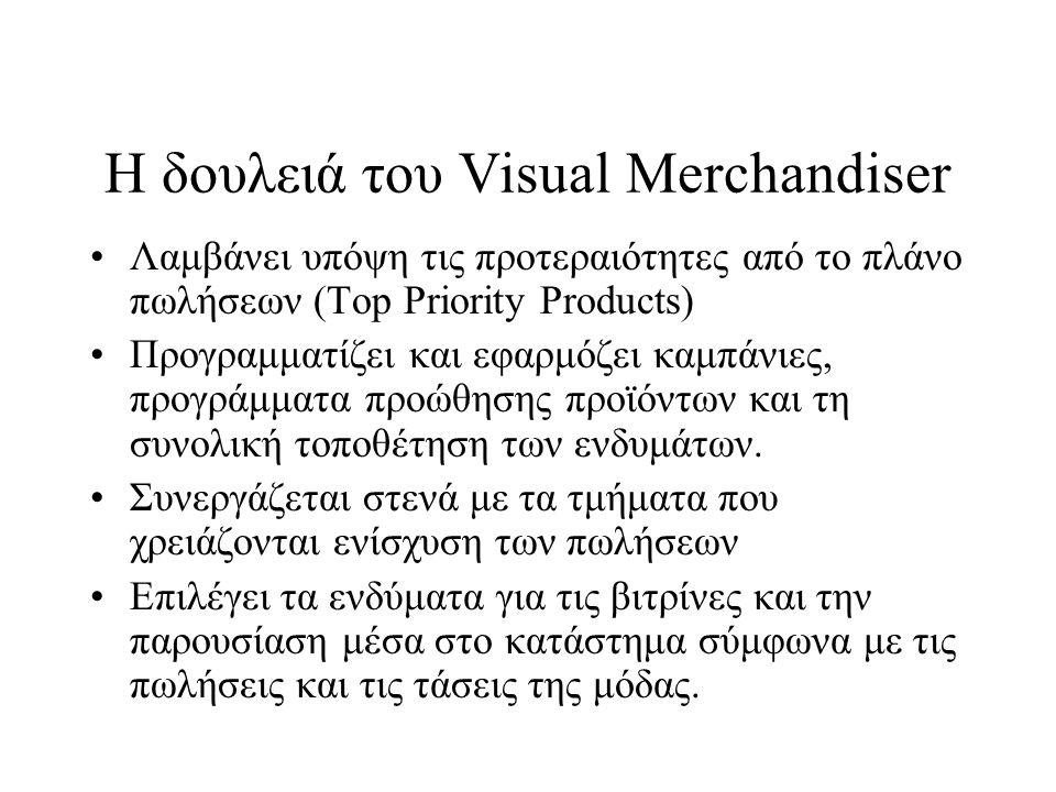 Η δουλειά του Visual Merchandiser •Λαμβάνει υπόψη τις προτεραιότητες από το πλάνο πωλήσεων (Top Priority Products) •Προγραμματίζει και εφαρμόζει καμπά