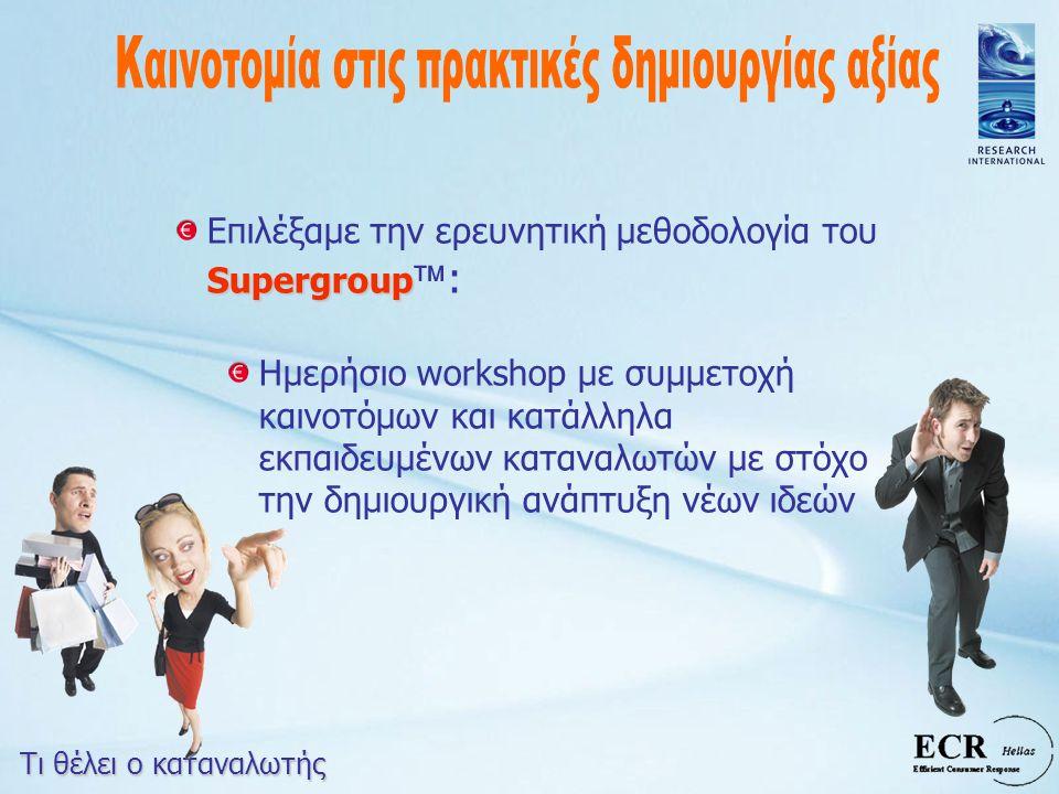 Supergroup Επιλέξαμε την ερευνητική μεθοδολογία του Supergroup  : Ημερήσιο workshop με συμμετοχή καινοτόμων και κατάλληλα εκπαιδευμένων καταναλωτών μ