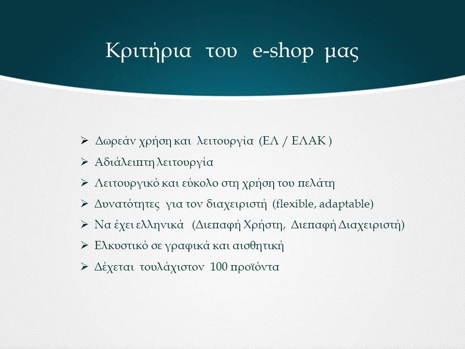 Κριτήρια του e-shop μας  Δωρεάν χρήση και λειτουργία (ΕΛ / ΕΛΑΚ )  Αδιάλειπτη λειτουργία  Λειτουργικό και εύκολο στη χρήση του πελάτη  Δυνατότητες για τον διαχειριστή (flexible, adaptable)  Να έχει ελληνικά (Διεπαφή Χρήστη, Διεπαφή Διαχειριστή)  Ελκυστικό σε γραφικά και αισθητική  Δέχεται τουλάχιστον 100 προϊόντα