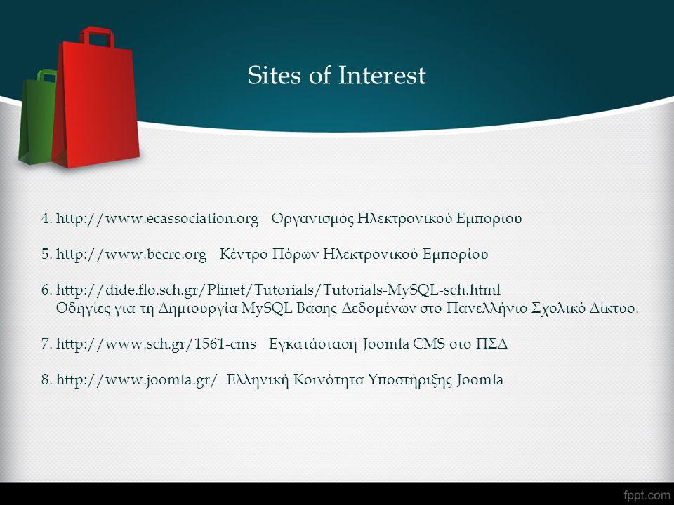 4. http://www.ecassociation.org Οργανισμός Ηλεκτρονικού Εμπορίου 5. http://www.becre.org Κέντρο Πόρων Ηλεκτρονικού Εμπορίου 6. http://dide.flo.sch.gr/