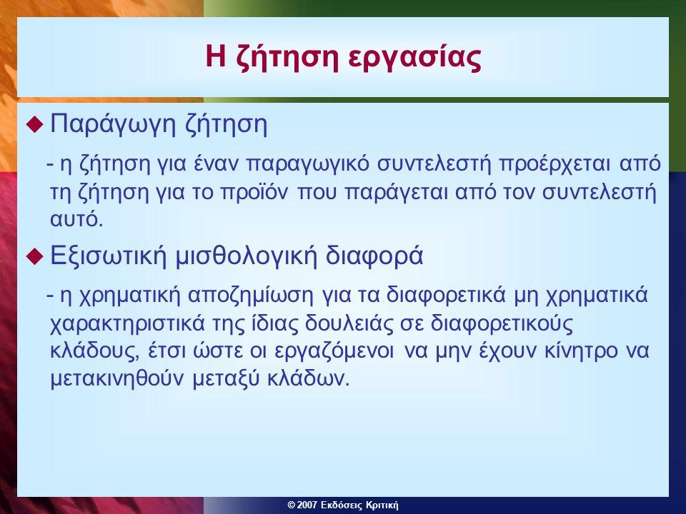 © 2007 Εκδόσεις Κριτική Ισορροπία στην αγορά εργασίας του κλάδου  Η καμπύλη προσφοράς του κλάδου S L S L έχει θετική κλίση.
