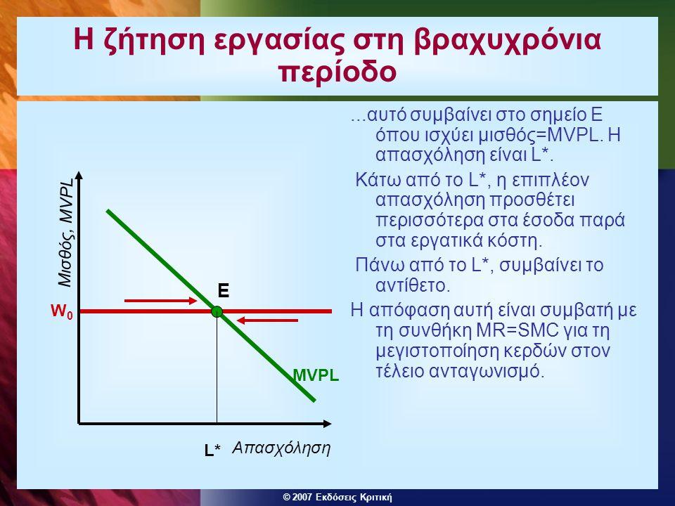 © 2007 Εκδόσεις Κριτική Μονοπωλιακή και μονοψωνιακή δύναμη στην αγορά εργασίας  Μια επιχείρηση μπορεί να έχει ΜΟΝΟΠΩΛΙΑΚΗ δύναμη στην αγορά του προϊόντος της, αντιμετωπίζοντας μια καμπύλη ζήτησης με αρνητική κλίση, έτσι ώστε το οριακό έσοδο που προκύπτει από την επέκταση της παραγωγής να είναι χαμηλότερο από το MVPL.