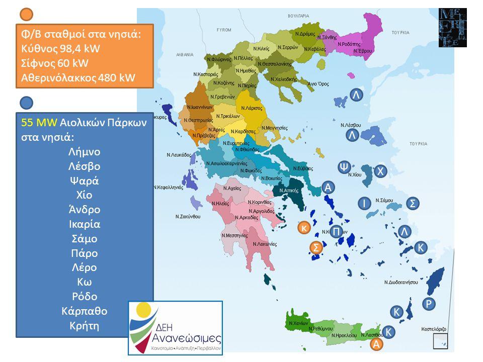 www.ppcr.gr Σήμερα σε λειτουργία 19 αιολικά πάρκα με 72,63 MW, 7 Φ/Β με 1,32 MW, 16 Μικροί ΥΗΣ με 65,35 MW Σήμερα σε λειτουργία 19 αιολικά πάρκα με 72