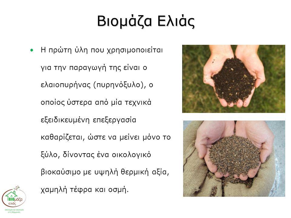 Βιομάζα Ελιάς •Η πρώτη ύλη που χρησιμοποιείται για την παραγωγή της είναι ο ελαιοπυρήνας (πυρηνόξυλο), ο οποίος ύστερα από μία τεχνικά εξειδικευμένη επεξεργασία καθαρίζεται, ώστε να μείνει μόνο το ξύλο, δίνοντας ένα οικολογικό βιοκαύσιμο με υψηλή θερμική αξία, χαμηλή τέφρα και οσμή.
