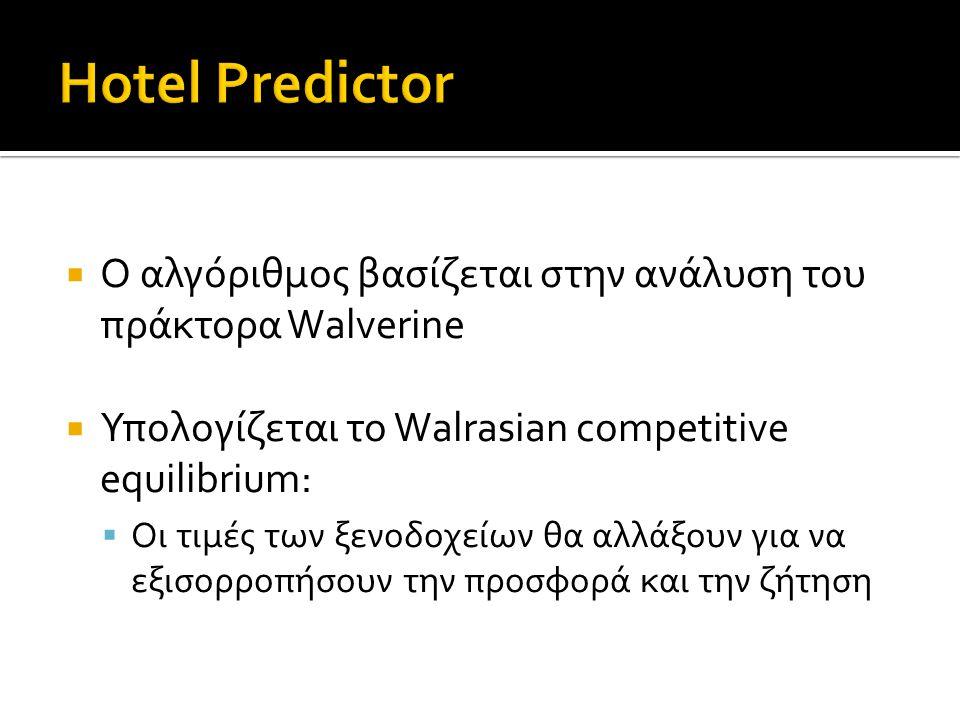  Ο αλγόριθμος βασίζεται στην ανάλυση του πράκτορα Walverine  Υπολογίζεται το Walrasian competitive equilibrium:  Οι τιμές των ξενοδοχείων θα αλλάξουν για να εξισορροπήσουν την προσφορά και την ζήτηση