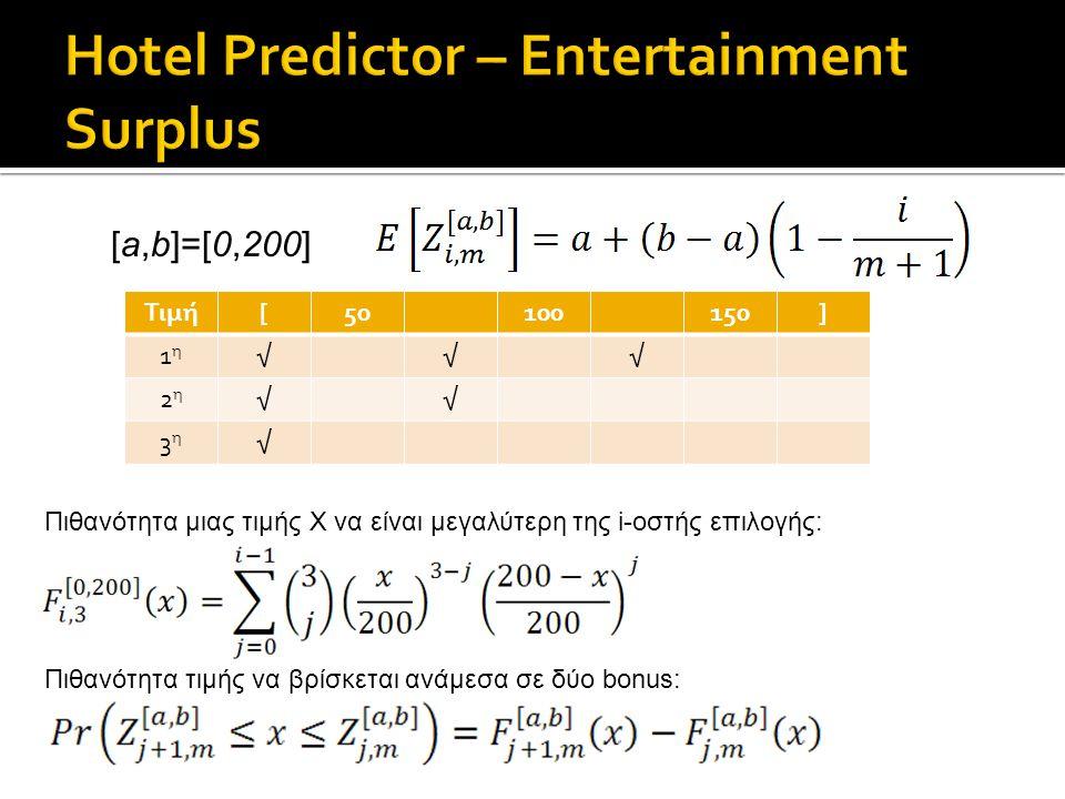 Τιμή[50100150] 1η1η √√√ 2η2η √√ 3η3η √ [a,b]=[0,200] Πιθανότητα μιας τιμής Χ να είναι μεγαλύτερη της i-οστής επιλογής: Πιθανότητα τιμής να βρίσκεται ανάμεσα σε δύο bonus: