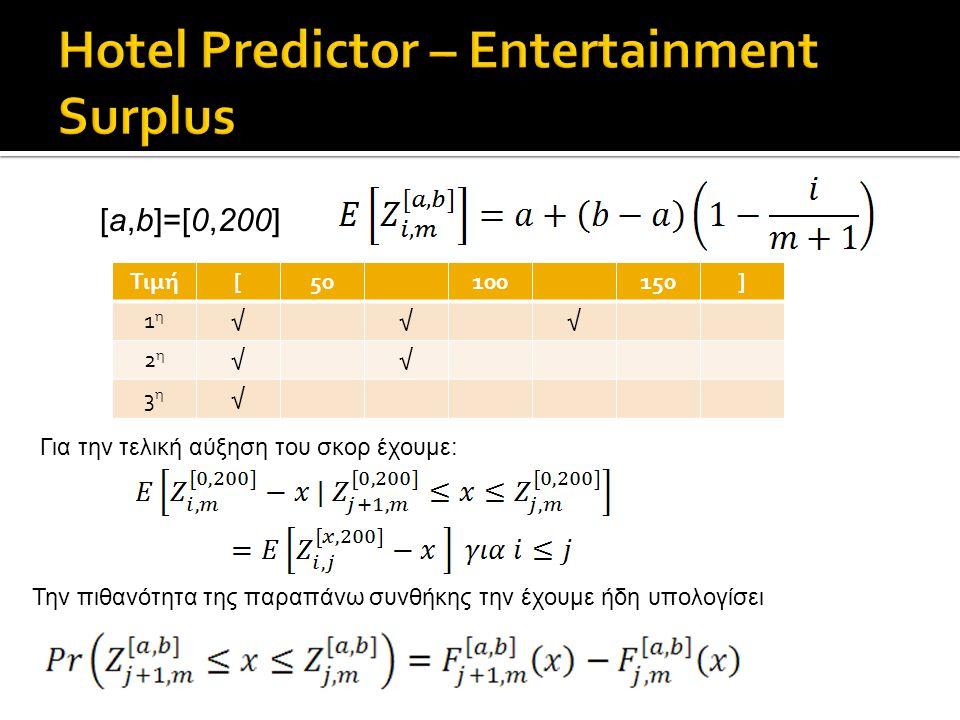 Τιμή[50100150] 1η1η √√√ 2η2η √√ 3η3η √ [a,b]=[0,200] Για την τελική αύξηση του σκορ έχουμε: Την πιθανότητα της παραπάνω συνθήκης την έχουμε ήδη υπολογίσει