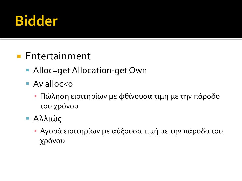 Entertainment  Alloc=get Allocation-get Own  Αν alloc<0 ▪ Πώληση εισιτηρίων με φθίνουσα τιμή με την πάροδο του χρόνου  Αλλιώς ▪ Αγορά εισιτηρίων