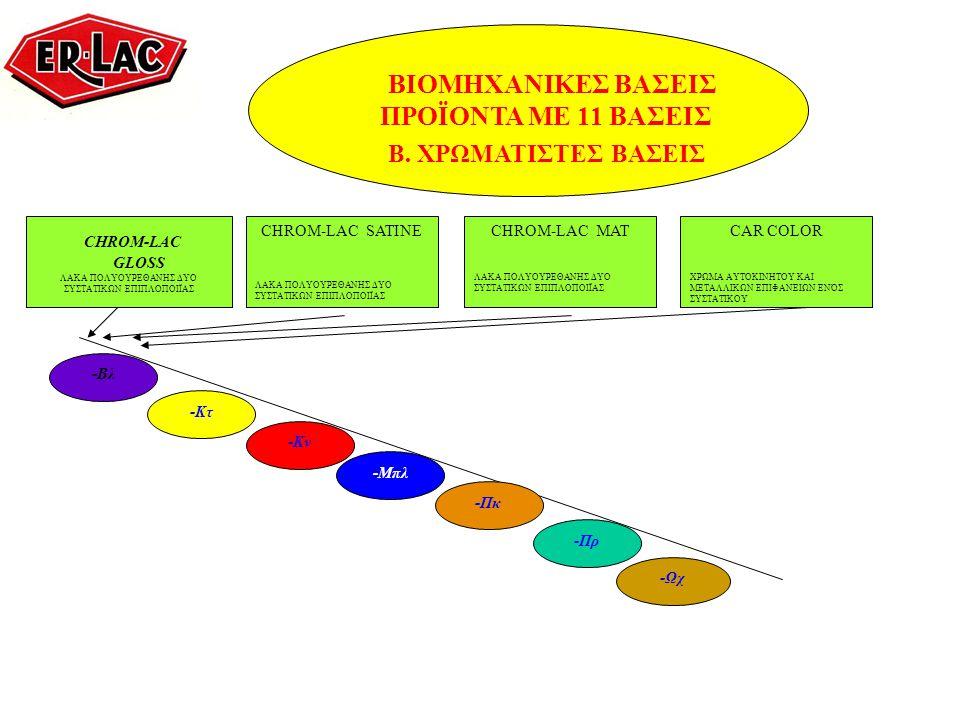 ΒΙΟΜΗΧΑΝΙΚΕΣ ΒΑΣΕΙΣ ΠΡΟΪΟΝΤΑ ΜΕ 11 ΒΑΣΕΙΣ Β. ΧΡΩΜΑΤΙΣΤΕΣ ΒΑΣΕΙΣ CHROM-LAC GLOSS ΛΑΚΑ ΠΟΛΥΟΥΡΕΘΑΝΗΣ ΔΥΟ ΣΥΣΤΑΤΙΚΩΝ ΕΠΙΠΛΟΠΟΙΪΑΣ CHROM-LAC SATINE ΛΑΚΑ Π
