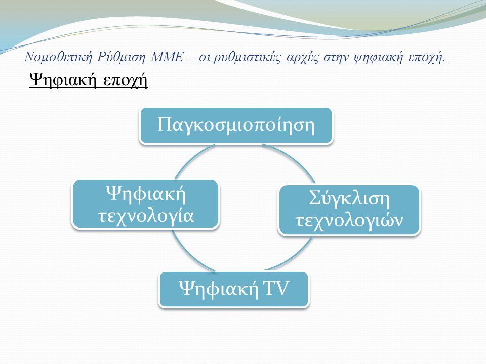 Νομοθετική Ρύθμιση ΜΜΕ – οι ρυθμιστικές αρχές στην ψηφιακή εποχή. Ψηφιακή εποχή Παγκοσμιοποίηση Σύγκλιση τεχνολογιών Ψηφιακή ΤV Ψηφιακή τεχνολογία