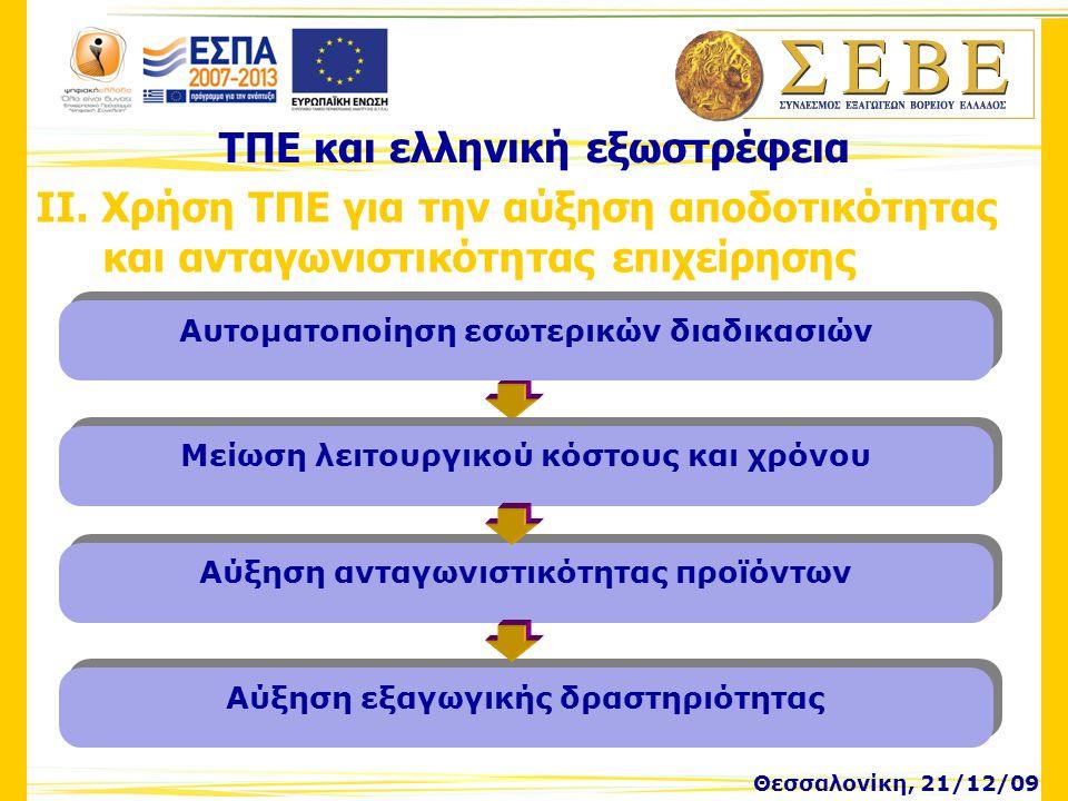 Θεσσαλονίκη, 21/12/09 ΤΠΕ και ελληνική εξωστρέφεια ΙΙ. Χρήση ΤΠΕ για την αύξηση αποδοτικότητας και ανταγωνιστικότητας επιχείρησης Μείωση λειτουργικού