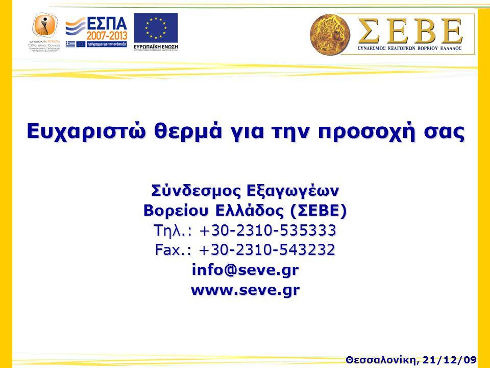Θεσσαλονίκη, 21/12/09 Ευχαριστώ θερμά για την προσοχή σας Σύνδεσμος Εξαγωγέων Βορείου Ελλάδος (ΣΕΒΕ) Τηλ.: +30-2310-535333 Fax.: +30-2310-543232 info@