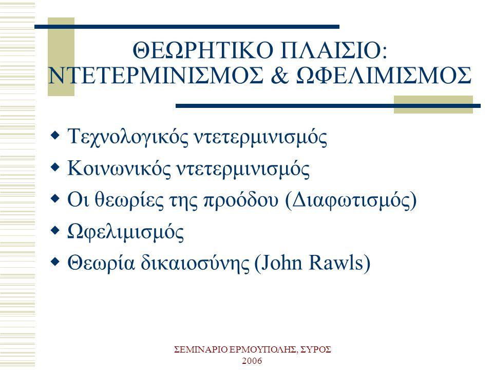 ΣΕΜΙΝΑΡΙΟ ΕΡΜΟΥΠΟΛΗΣ, ΣΥΡΟΣ 2006 ΘΕΩΡΗΤΙΚΟ ΠΛΑΙΣΙΟ: ΝΤΕΤΕΡΜΙΝΙΣΜΟΣ & ΩΦΕΛΙΜΙΣΜΟΣ  Τεχνολογικός ντετερμινισμός  Κοινωνικός ντετερμινισμός  Οι θεωρίε