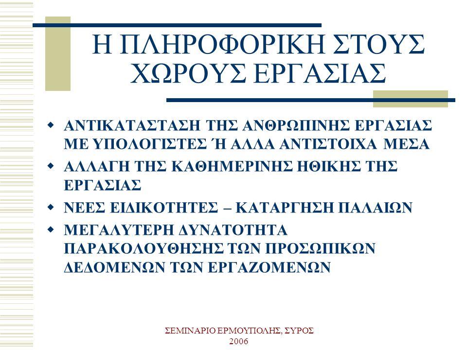 ΣΕΜΙΝΑΡΙΟ ΕΡΜΟΥΠΟΛΗΣ, ΣΥΡΟΣ 2006 Η ΠΛΗΡΟΦΟΡΙΚΗ ΣΤΟΥΣ ΧΩΡΟΥΣ ΕΡΓΑΣΙΑΣ  ΑΝΤΙΚΑΤΑΣΤΑΣΗ ΤΗΣ ΑΝΘΡΩΠΙΝΗΣ ΕΡΓΑΣΙΑΣ ΜΕ ΥΠΟΛΟΓΙΣΤΕΣ Ή ΑΛΛΑ ΑΝΤΙΣΤΟΙΧΑ ΜΕΣΑ  Α