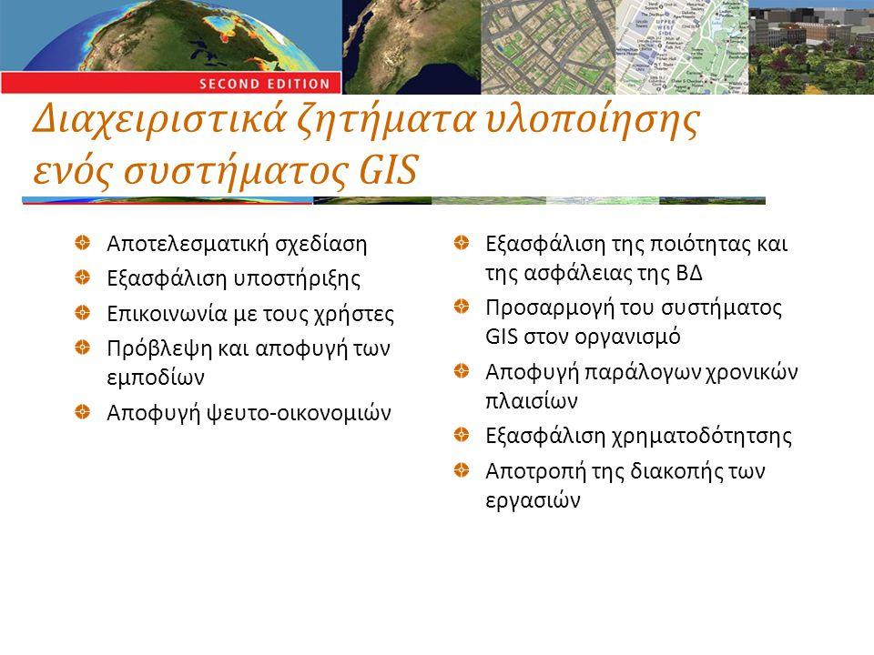 Διαχειριστικά ζητήματα υλοποίησης ενός συστήματος GIS Αποτελεσματική σχεδίαση Εξασφάλιση υποστήριξης Επικοινωνία με τους χρήστες Πρόβλεψη και αποφυγή