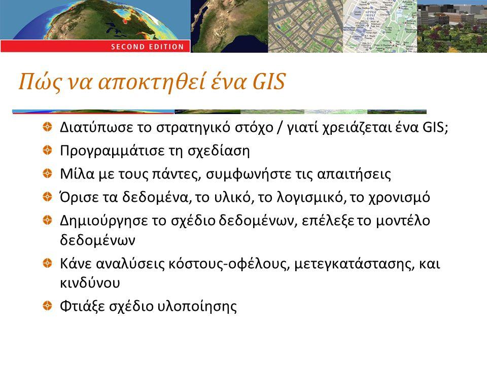 Πώς να αποκτηθεί ένα GIS Διατύπωσε το στρατηγικό στόχο / γιατί χρειάζεται ένα GIS; Προγραμμάτισε τη σχεδίαση Μίλα με τους πάντες, συμφωνήστε τις απαιτ
