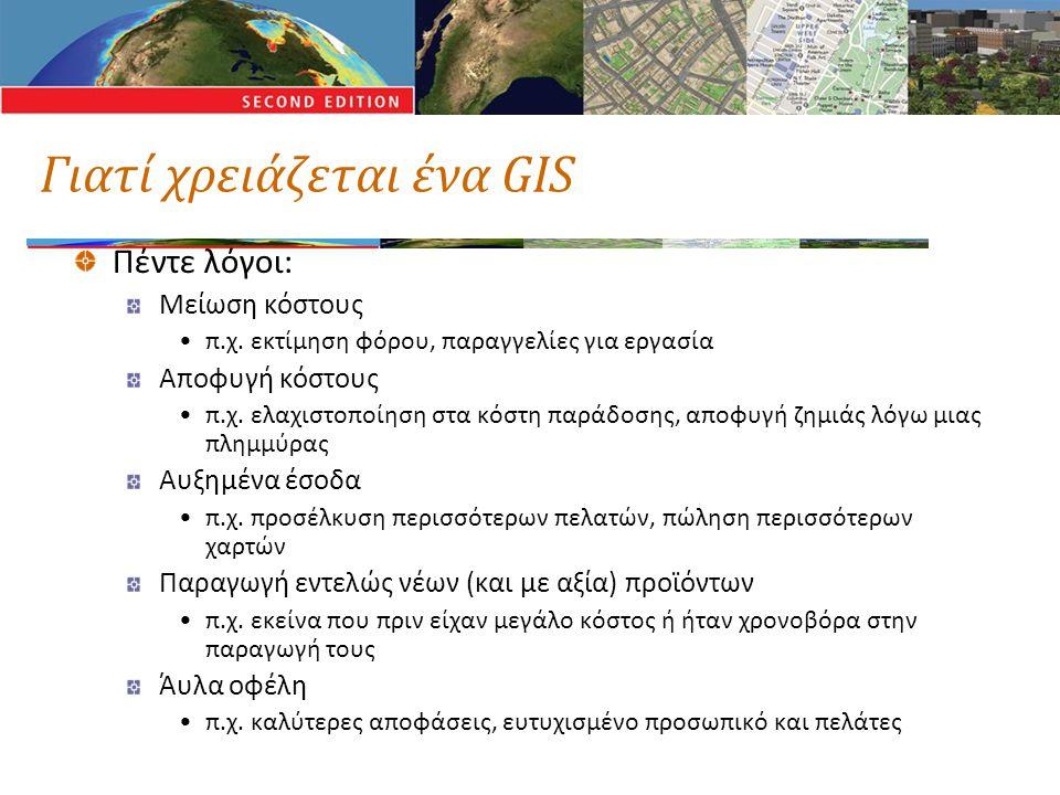 Γιατί χρειάζεται ένα GIS Πέντε λόγοι: Μείωση κόστους •π.χ. εκτίμηση φόρου, παραγγελίες για εργασία Αποφυγή κόστους •π.χ. ελαχιστοποίηση στα κόστη παρά