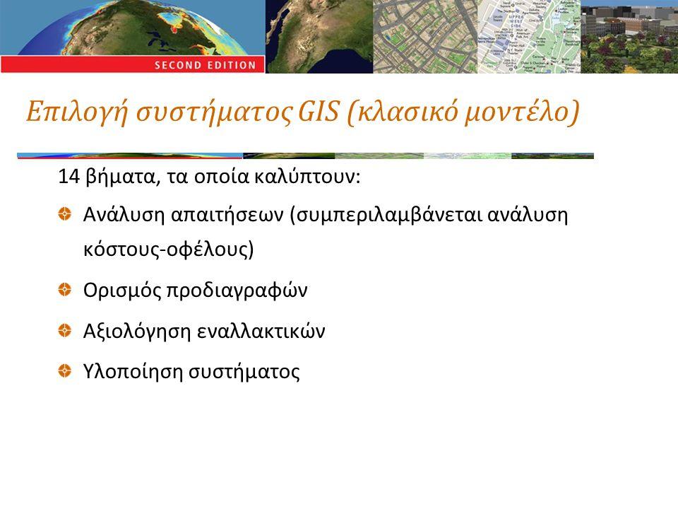 Επιλογή συστήματος GIS (κλασικό μοντέλο) 14 βήματα, τα οποία καλύπτουν: Ανάλυση απαιτήσεων (συμπεριλαμβάνεται ανάλυση κόστους-οφέλους) Ορισμός προδιαγ