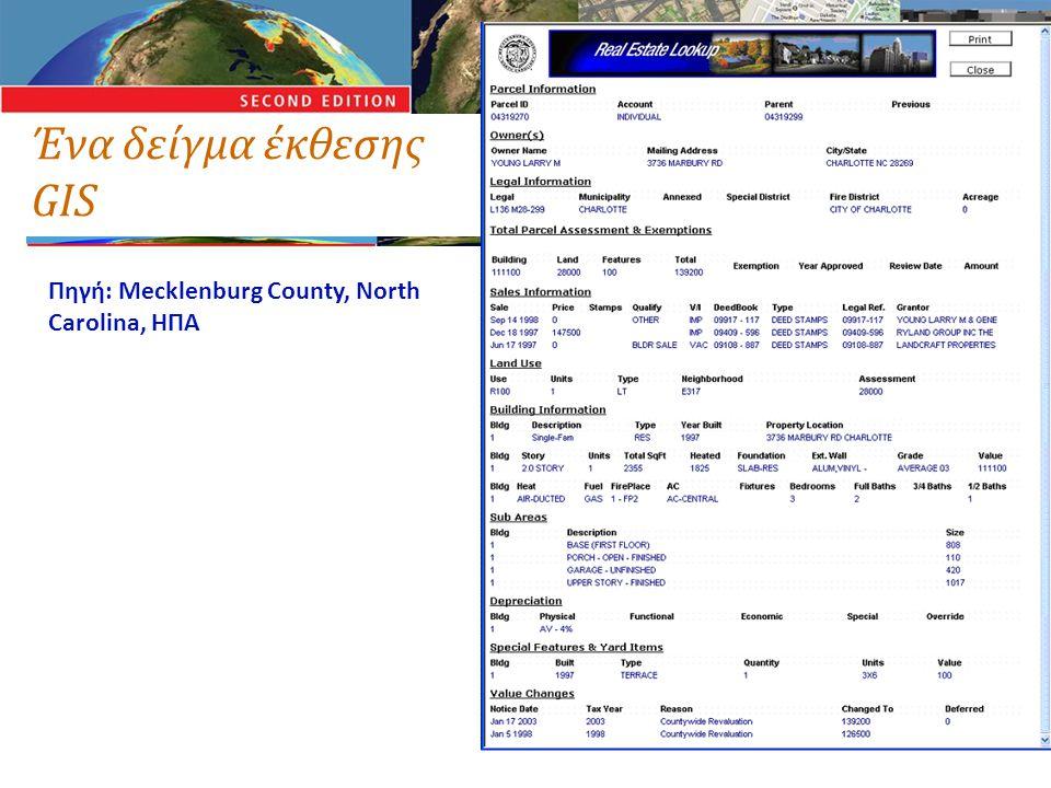 Ένα δείγμα έκθεσης GIS Πηγή: Mecklenburg County, North Carolina, ΗΠΑ