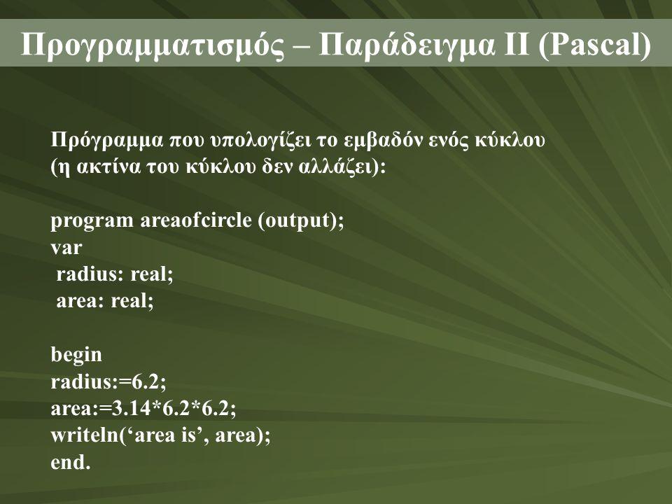 Προγραμματισμός – Παράδειγμα ΙΙ (Pascal) Πρόγραμμα που υπολογίζει το εμβαδόν ενός κύκλου (η ακτίνα του κύκλου δεν αλλάζει): program areaofcircle (output); var radius: real; area: real; begin radius:=6.2; area:=3.14*6.2*6.2; writeln('area is', area); end.