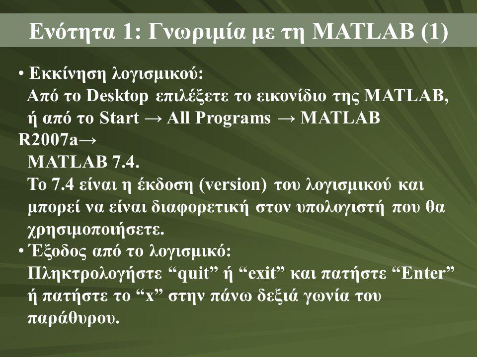 Ενότητα 1: Γνωριμία με τη MATLAB (1) • Εκκίνηση λογισμικού: Από το Desktop επιλέξετε το εικονίδιο της MATLAB, ή από το Start → All Programs → MATLAB R2007a→ MATLAB 7.4.