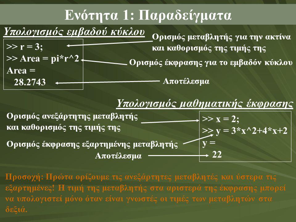 Ενότητα 1: Παραδείγματα >> r = 3; >> Area = pi*r^2 Area = 28.2743 Υπολογισμός εμβαδού κύκλου Ορισμός μεταβλητής για την ακτίνα και καθορισμός της τιμής της Ορισμός έκφρασης για το εμβαδόν κύκλου Αποτέλεσμα >> x = 2; >> y = 3*x^2+4*x+2 y = 22 Υπολογισμός μαθηματικής έκφρασης Ορισμός ανεξάρτητης μεταβλητής και καθορισμός της τιμής της Ορισμός έκφρασης εξαρτημένης μεταβλητής Αποτέλεσμα Προσοχή: Πρώτα ορίζουμε τις ανεξάρτητες μεταβλητές και ύστερα τις εξαρτημένες.