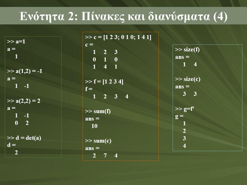 Ενότητα 2: Πίνακες και διανύσματα (4) >> a=1 a = 1 >> a(1,2) = -1 a = 1 -1 >> a(2,2) = 2 a = 1 -1 0 2 >> d = det(a) d = 2 >> c = [1 2 3; 0 1 0; 1 4 1] c = 1 2 3 0 1 0 1 4 1 >> f = [1 2 3 4] f = 1 2 3 4 >> sum(f) ans = 10 >> sum(c) ans = 2 7 4 >> size(f) ans = 1 4 >> size(c) ans = 3 3 >> g=f g = 1 2 3 4