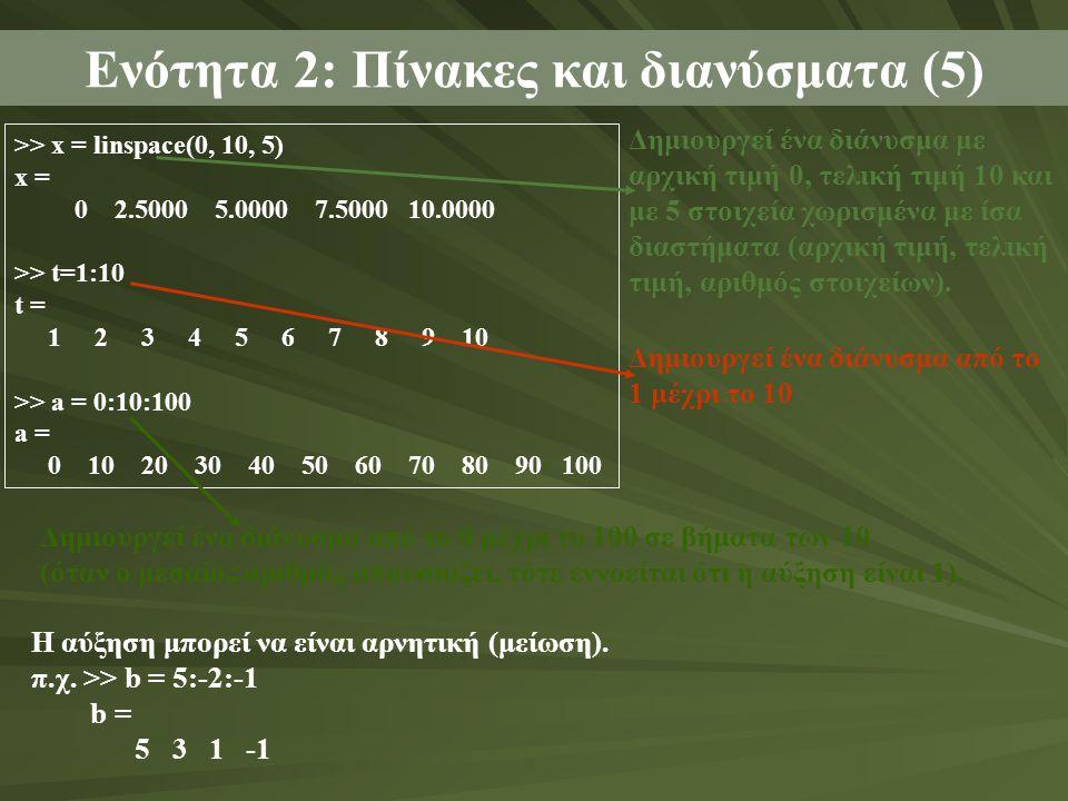 Ενότητα 2: Πίνακες και διανύσματα (5) >> x = linspace(0, 10, 5) x = 0 2.5000 5.0000 7.5000 10.0000 >> t=1:10 t = 1 2 3 4 5 6 7 8 9 10 >> a = 0:10:100 a = 0 10 20 30 40 50 60 70 80 90 100 Δημιουργεί ένα διάνυσμα με αρχική τιμή 0, τελική τιμή 10 και με 5 στοιχεία χωρισμένα με ίσα διαστήματα (αρχική τιμή, τελική τιμή, αριθμός στοιχείων).