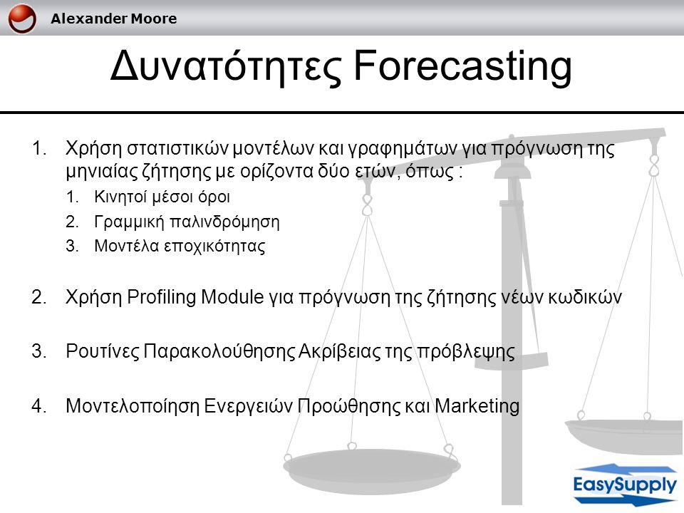 Δυνατότητες Forecasting 1.Χρήση στατιστικών μοντέλων και γραφημάτων για πρόγνωση της μηνιαίας ζήτησης με ορίζοντα δύο ετών, όπως : 1.Κινητοί μέσοι όρο