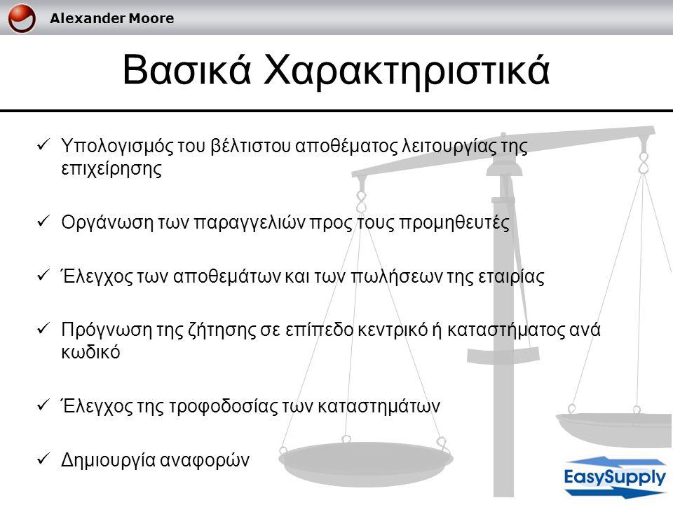 Alexander Moore Βασικά Χαρακτηριστικά  Υπολογισμός του βέλτιστου αποθέματος λειτουργίας της επιχείρησης  Οργάνωση των παραγγελιών προς τους προμηθευ
