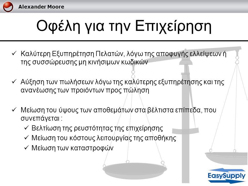 Alexander Moore Μοντελοποίηση Χαρακτηριστικά : 1.Προσδιορισμός Βέλτιστου Αποθέματος για την επιχείρηση 2.Υπολογισμός παραγγελιών με βάση το βέλτιστο απόθεμα 3.Προσδιορισμός αποθέματος ασφαλείας 4.Ανάλυση Κωδικών ABC