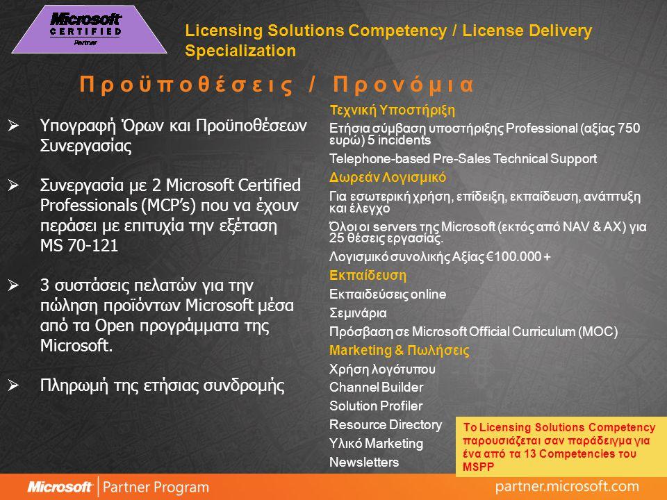  Υπογραφή Όρων και Προϋποθέσεων Συνεργασίας  Συνεργασία με 2 Microsoft Certified Professionals (MCP's) που να έχουν περάσει με επιτυχία την εξέταση MS 70-121  3 συστάσεις πελατών για την πώληση προϊόντων Microsoft μέσα από τα Open προγράμματα της Microsoft.