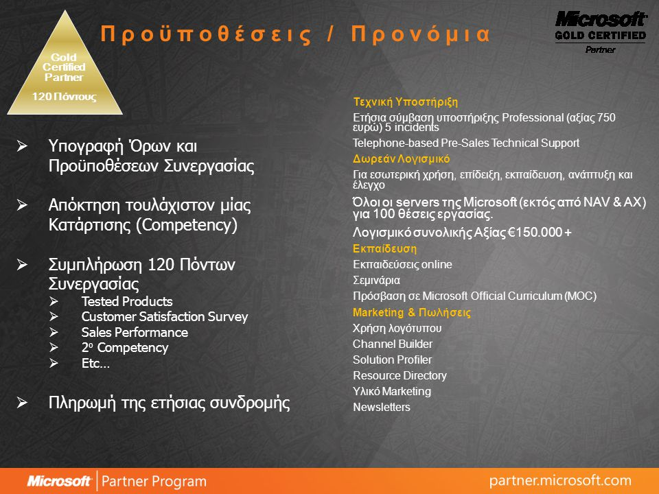 Προϊόντα Certified Partner Gold Partner Microsoft Office Enterprise 200725100 Microsoft Office SharePoint Designer 200725100 Microsoft Windows Media Center Edition25100 Microsoft Windows Vista Business Edition25100 Microsoft Virtual PC 200425100 Microsoft Business Contact Manager25100 Microsoft Office Visio Professional 200725100 Microsoft Office Project Professional 200725100 Microsoft Office Project Server 200711 Microsoft Office Project Portfolio Server 200711 Microsoft Office Project Server 2007 CAL25100 Microsoft Office Project Portfolio Server 2007 CAL25100 Microsoft MapPoint 200625100 Microsoft Windows Server 2003 R2 Enterprise Edition23 Microsoft Windows Server 2003 R2 Enterprise Edition CALs25100 Microsoft Windows Server 2003 Terminal Server CALs25100 Microsoft Windows Server 2003 Web Edition12 Microsoft SQL Server 2005 Enterprise Edition12 Microsoft SQL Server 2005 Enterprise Edition CALs25100 Microsoft Exchange Server 2007 Enterprise Edition11 Microsoft Exchange Server Enterprise CAL 2007 with Service25100 Microsoft Office SharePoint Server 200711 Microsoft Office SharePoint Server for Search 2007 Enterprise11 Microsoft Office SharePoint Server 2007 Enterprise CAL25100 Microsoft Office Form Server 200711 Microsoft Partner Program – Ανάλυση Προνομίων Λογισμικού
