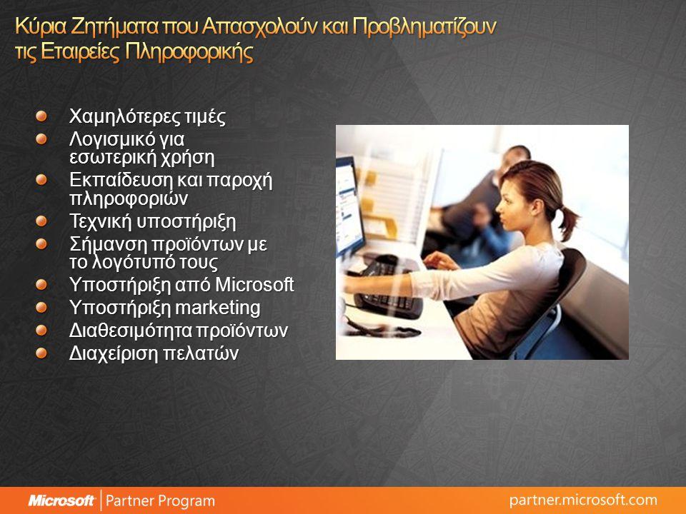 Χαμηλότερες τιμές Λογισμικό για εσωτερική χρήση Εκπαίδευση και παροχή πληροφοριών Τεχνική υποστήριξη Σήμανση προϊόντων με το λογότυπό τους Υποστήριξη από Microsoft Υποστήριξη marketing Διαθεσιμότητα προϊόντων Διαχείριση πελατών