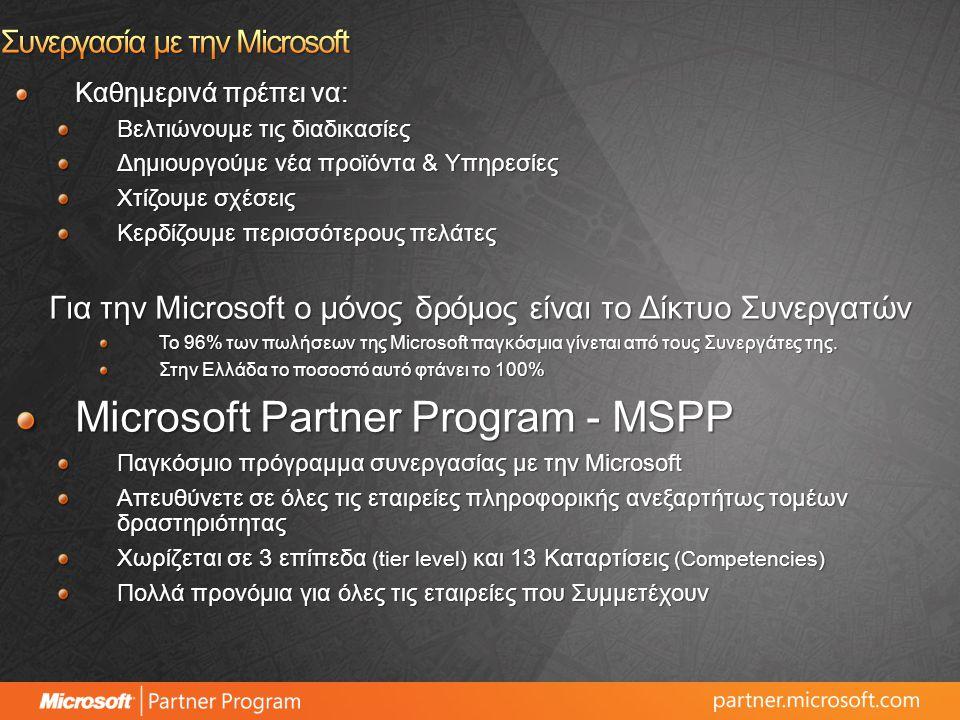 Καθημερινά πρέπει να: Βελτιώνουμε τις διαδικασίες Δημιουργούμε νέα προϊόντα & Υπηρεσίες Χτίζουμε σχέσεις Κερδίζουμε περισσότερους πελάτες Για την Microsoft ο μόνος δρόμος είναι το Δίκτυο Συνεργατών Το 96% των πωλήσεων της Microsoft παγκόσμια γίνεται από τους Συνεργάτες της.