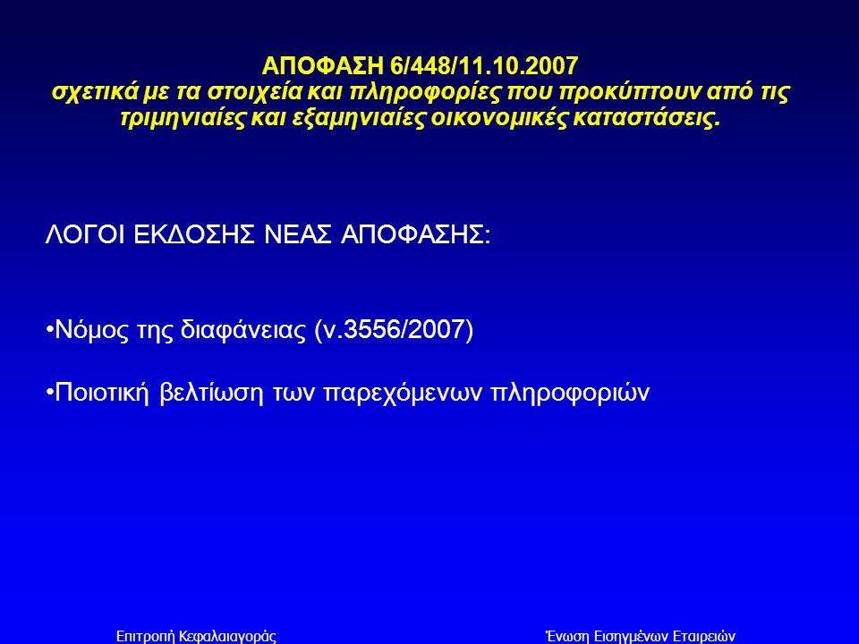 Επιτροπή ΚεφαλαιαγοράςΈνωση Εισηγμένων Εταιρειών ΑΠΟΦΑΣΗ 6/448/11.10.2007 σχετικά με τα στοιχεία και πληροφορίες που προκύπτουν από τις τριμηνιαίες κα