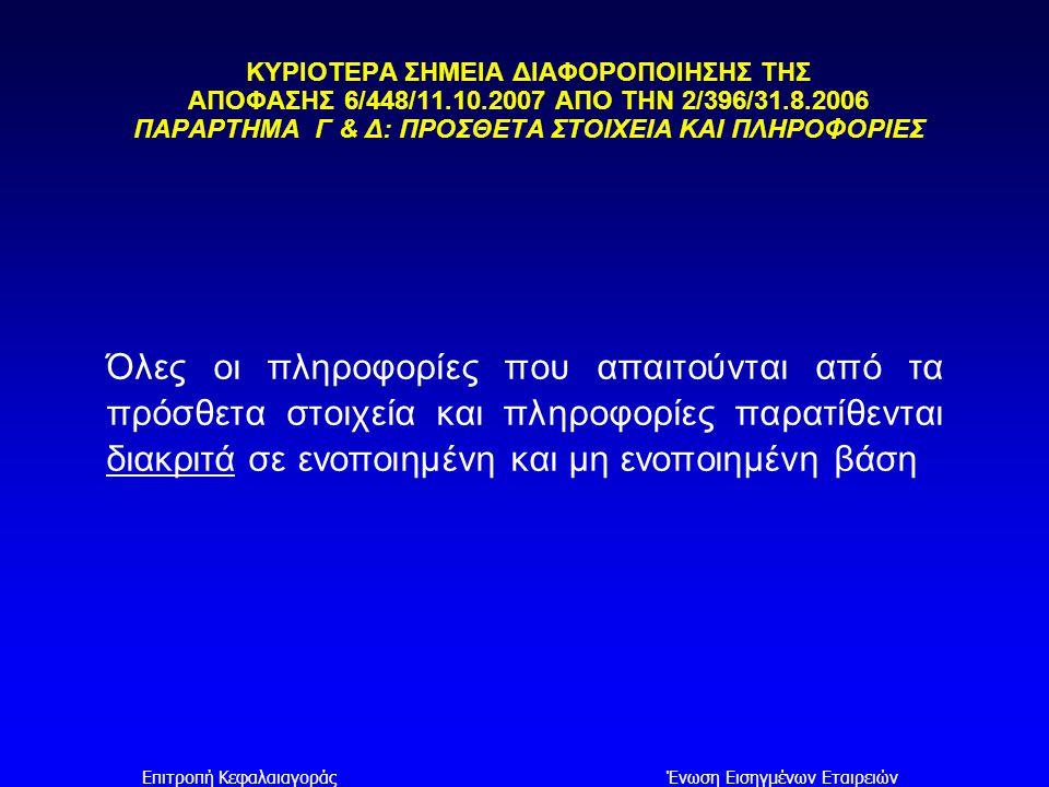 Επιτροπή ΚεφαλαιαγοράςΈνωση Εισηγμένων Εταιρειών ΚΥΡΙΟΤΕΡΑ ΣΗΜΕΙΑ ΔΙΑΦΟΡΟΠΟΙΗΣΗΣ ΤΗΣ ΑΠΟΦΑΣΗΣ 6/448/11.10.2007 ΑΠΟ ΤΗΝ 2/396/31.8.2006 ΠΑΡΑΡΤΗΜΑ Γ & Δ