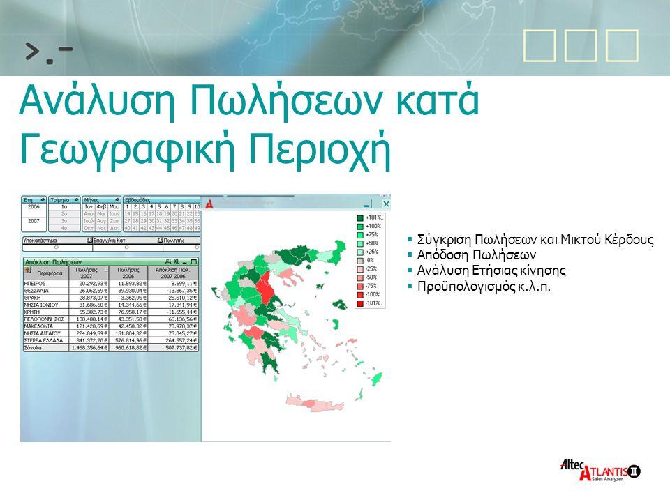 Ανάλυση Πωλήσεων κατά Γεωγραφική Περιοχή  Σύγκριση Πωλήσεων και Μικτού Κέρδους  Απόδοση Πωλήσεων  Ανάλυση Ετήσιας κίνησης  Προϋπολογισμός κ.λ.π.