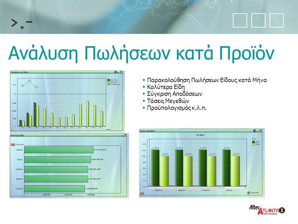 Ανάλυση Πωλήσεων κατά Προϊόν  Παρακολούθηση Πωλήσεων Είδους κατά Μήνα  Καλύτερα Είδη  Σύγκριση Αποδόσεων  Τάσεις Μεγεθών  Προϋπολογισμός κ.λ.π.