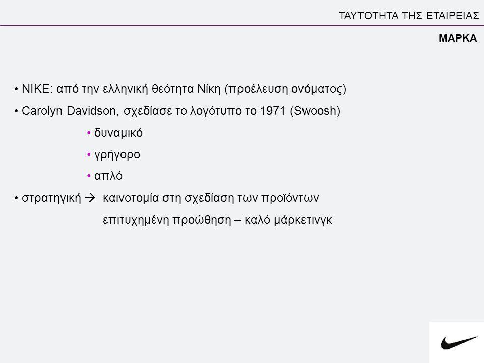 ΤΑΥΤΟΤΗΤΑ ΤΗΣ ΕΤΑΙΡΕΙΑΣ ΜΑΡΚΑ • ΝΙΚΕ: από την ελληνική θεότητα Nίκη (προέλευση ονόματος) • Carolyn Davidson, σχεδίασε το λογότυπο το 1971 (Swoosh) • δ