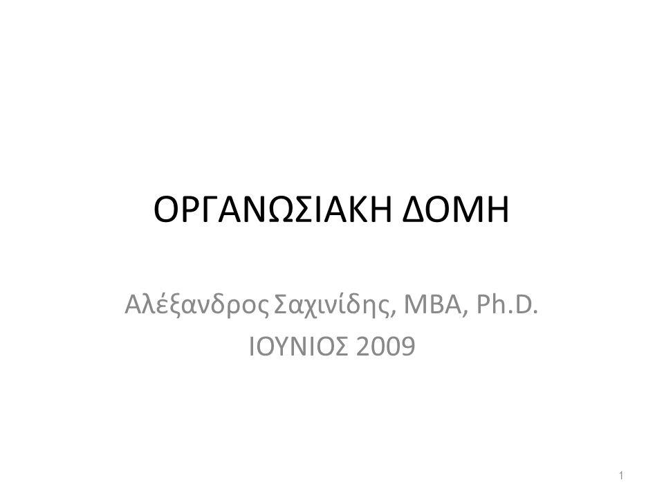 ΟΡΓΑΝΩΣΙΑΚΗ ΔΟΜΗ Αλέξανδρος Σαχινίδης, ΜΒΑ, Ph.D. ΙΟΥΝΙΟΣ 2009 1