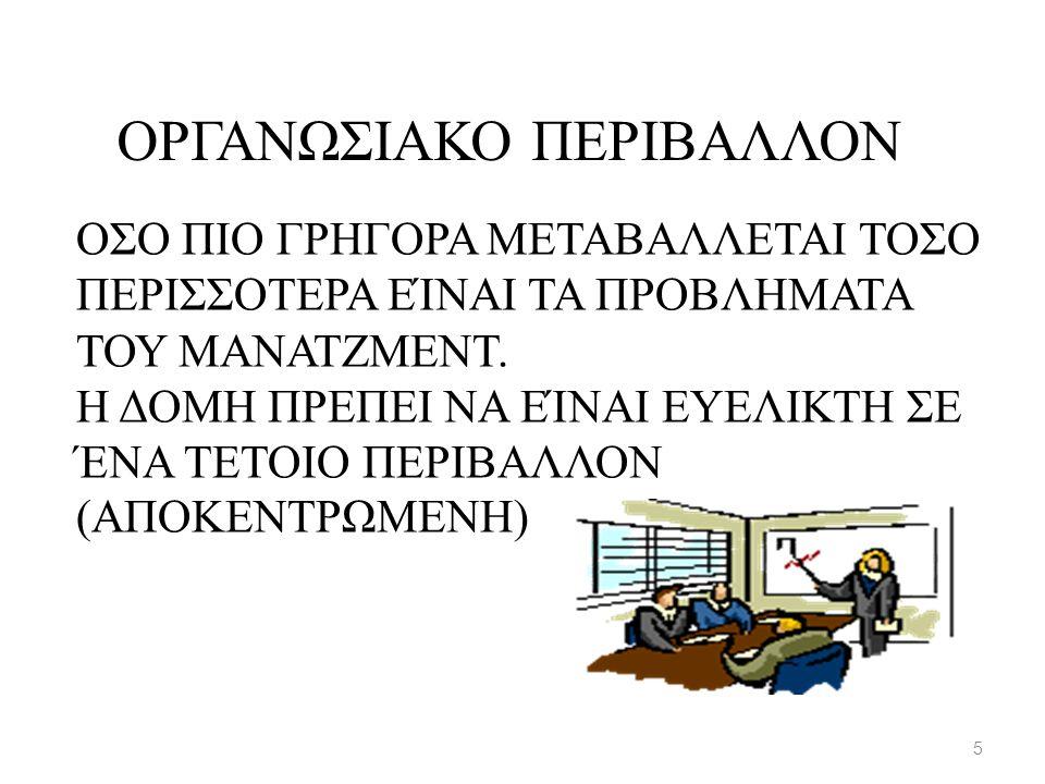 ΟΣΟ ΠΙΟ ΓΡΗΓΟΡΑ ΜΕΤΑΒΑΛΛΕΤΑΙ ΤΟΣΟ ΠΕΡΙΣΣΟΤΕΡΑ ΕΊΝΑΙ ΤΑ ΠΡΟΒΛΗΜΑΤΑ ΤΟΥ ΜΑΝΑΤΖΜΕΝΤ. Η ΔΟΜΗ ΠΡΕΠΕΙ ΝΑ ΕΊΝΑΙ ΕΥΕΛΙΚΤΗ ΣΕ ΈΝΑ ΤΕΤΟΙΟ ΠΕΡΙΒΑΛΛΟΝ (ΑΠΟΚΕΝΤΡΩΜ