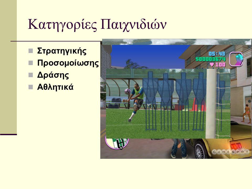 Κατηγορίες Παιχνιδιών  Στρατηγικής  Προσομοίωσης  Δράσης  Αθλητικά