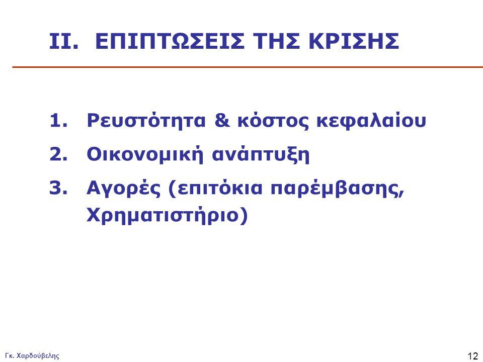 Γκ. Χαρδούβελης 12 1.Ρευστότητα & κόστος κεφαλαίου 2.Οικονομική ανάπτυξη 3.Αγορές (επιτόκια παρέμβασης, Χρηματιστήριο) II. ΕΠΙΠΤΩΣΕΙΣ ΤΗΣ ΚΡΙΣΗΣ