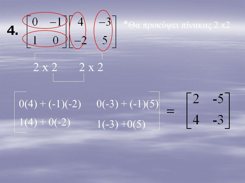 2 x 2 2 x 2 * Θα προκύψει πίνακας 2 x2 0(4) + (-1)(-2)0(-3) + (-1)(5) 1(4) + 0(-2) 1(-3) +0(5)