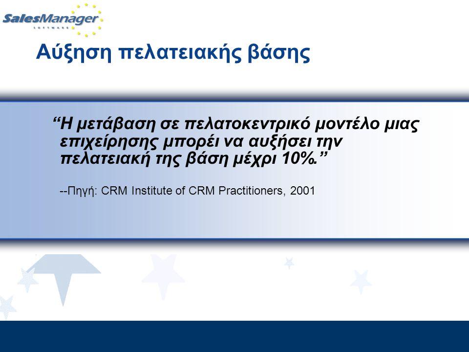 """Αύξηση πελατειακής βάσης """"Η μετάβαση σε πελατοκεντρικό μοντέλο μιας επιχείρησης μπορέι να αυξήσει την πελατειακή της βάση μέχρι 10%."""" --Πηγή: CRM Inst"""