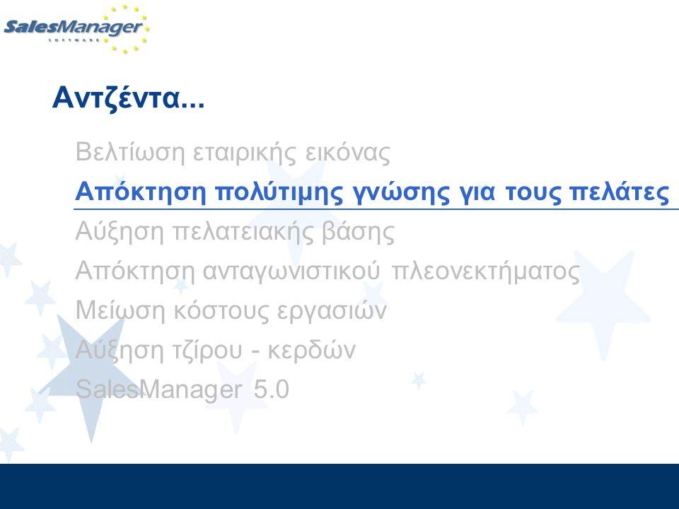 Βελτίωση εταιρικής εικόνας Απόκτηση πολύτιμης γνώσης για τους πελάτες Αύξηση πελατειακής βάσης Απόκτηση ανταγωνιστικού πλεονεκτήματος Μείωση κόστους ε