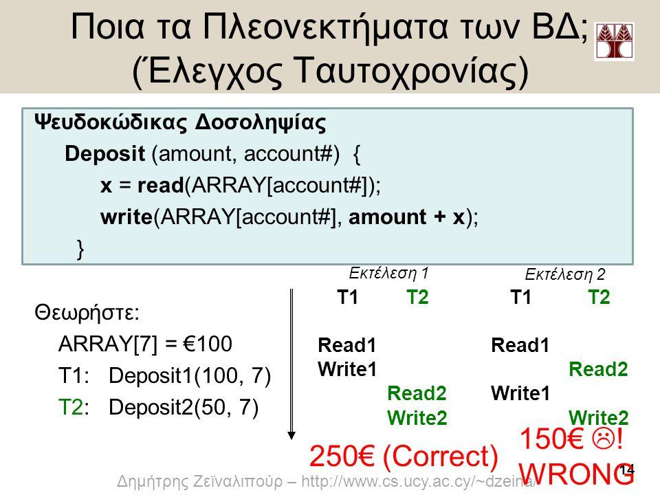 14 Δημήτρης Ζεϊναλιπούρ – http://www.cs.ucy.ac.cy/~dzeina/ Ποια τα Πλεονεκτήματα των ΒΔ; (Έλεγχος Ταυτοχρονίας) Ψευδοκώδικας Δοσοληψίας Deposit (amoun