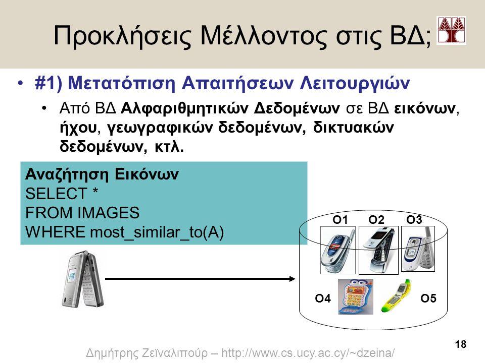 18 Δημήτρης Ζεϊναλιπούρ – http://www.cs.ucy.ac.cy/~dzeina/ Αναζήτηση Εικόνων SELECT * FROM IMAGES WHERE most_similar_to(A) Προκλήσεις Μέλλοντος στις Β