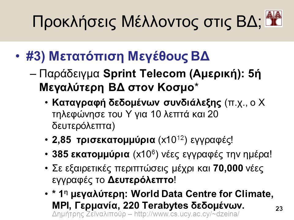 23 Δημήτρης Ζεϊναλιπούρ – http://www.cs.ucy.ac.cy/~dzeina/ Προκλήσεις Μέλλοντος στις ΒΔ; •#3) Μετατόπιση Μεγέθους ΒΔ –Παράδειγμα Sprint Telecom (Αμερι